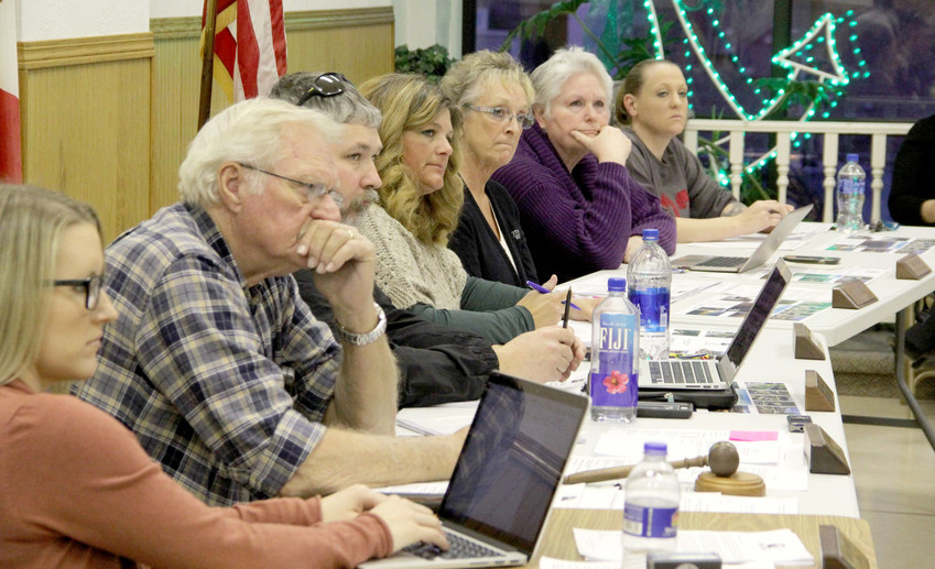 Princeton council members listen to annexation concerns at a March 8 meeting at Boll's Community Center. From left, city clerk Katie Tolley, mayor Roger Woomert and council members Kevin Kernan, Jamie Stutting, Karen Woomert, Ann Geiger and Amy Simmons.