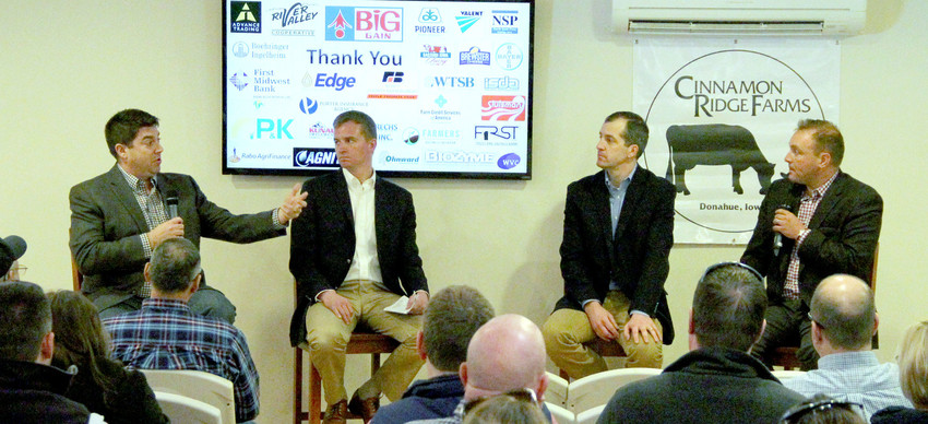 The Cinnamon Ridge 2018 Agricultural Summit panel convened March 22, included, from left: Brian Burke, a St. Louis-based risk-management partner with John Stewart and Associates, Iowa Farm Bureau national policy director Kevin Kuhle, Iowa Secretary of Agriculture Michael Naig, and moderator Mike Pearson.