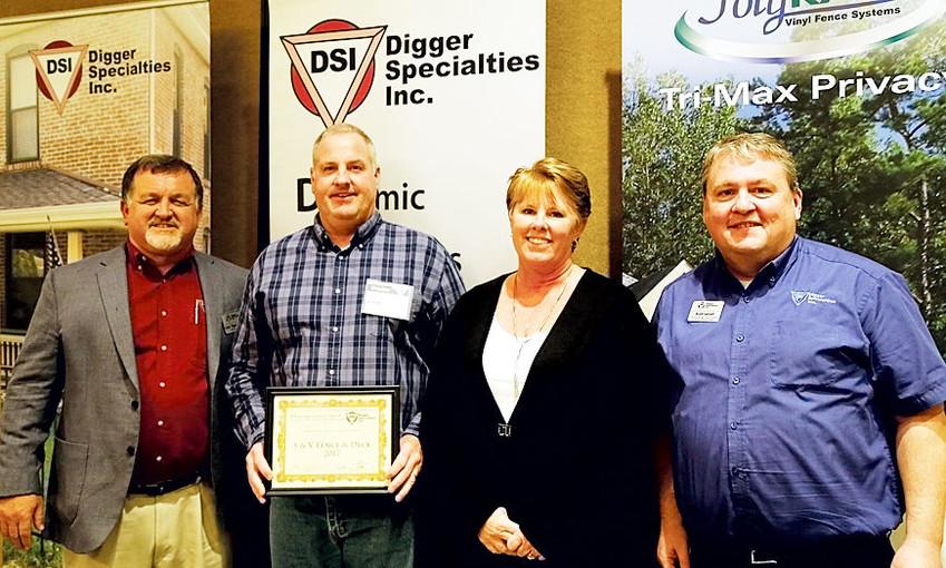 """Loren """"Digger"""" Graber, Scott Shimp (S&V owner), Amy Shimp (S&V manager) and Scott Jarrett (DSI territory manager)."""
