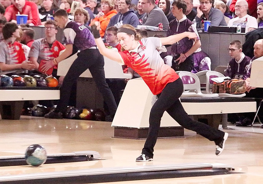 After rolling a disappointing 122 game, thanks in part to five splits, Lancer sophomore Grace Bjustrom bounced back with a respectable 180 at Thursday's Class 2A State Bowling Tournament in Waterloo.