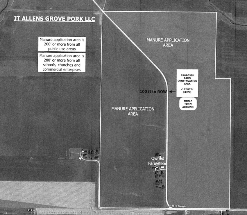 An illustration shows the plan for the Dittmers' hog farm at 26413 75th Ave., on section 32 of Allens Grove Township.