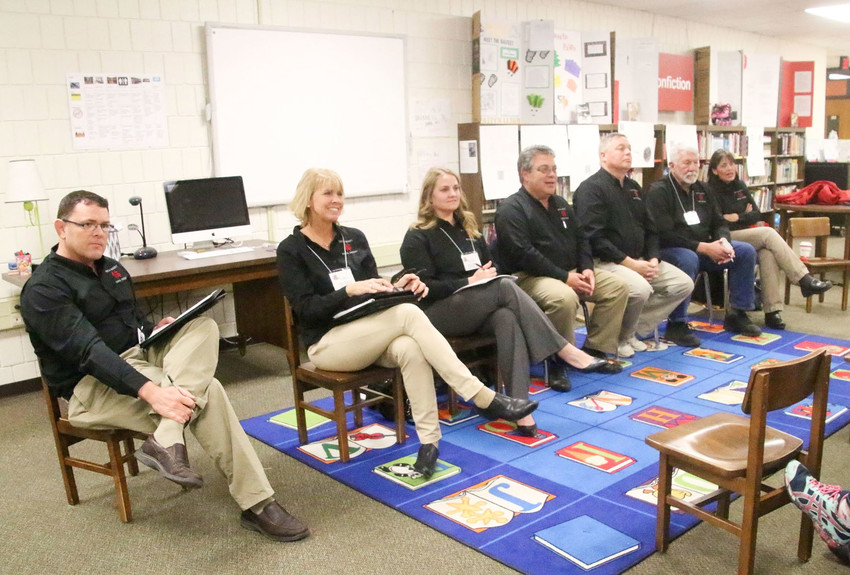 North Scott school board members take questions March 8 at the first of a series of listening sessions.