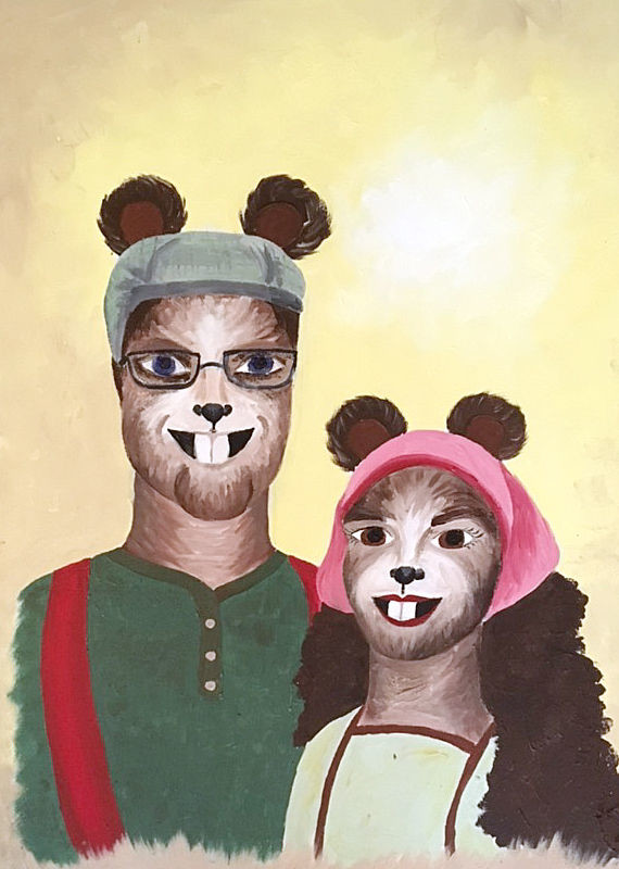 "Maia Glover created this portrait of Mr. and Mrs. Beaver (S.J. Madden and Abi Jensen) as part of Lancer Productions' tribute to Madden during performances of ""The Lion, the Witch and the Wardrobe."" The portrait was displayed in the set of the Beavers' home."