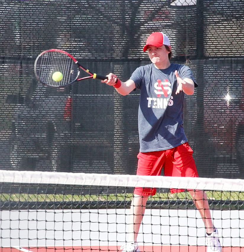 Collin Kull has manned the No. 2 singles slot for North Scott's boys' tennis team. Here he's shown in action against Davenport Assumption last week.