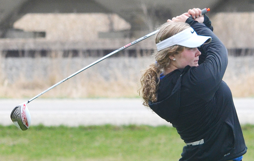 Wilton's Taylor Garvin is shown driving on hole 5 at Wahkonsa during home tournament action April 27.
