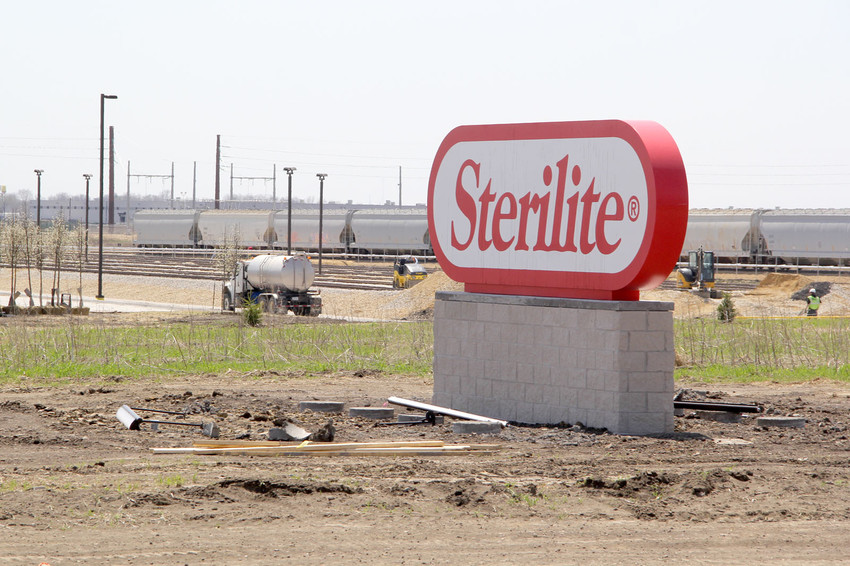 A row of freight cars at Sterilite are the first to use the Davenport rail transload facility and rail spur.