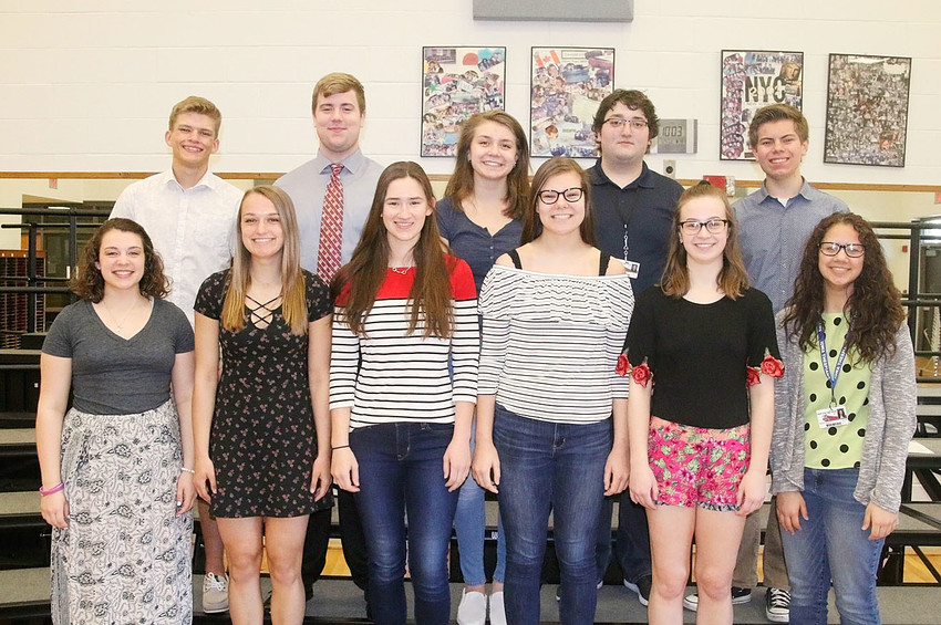These North Scott High School choir students earned Division I ratings on their solos. Front (l-r): Isobel LaCorte, Brittany Bullock, Natalie Romanick, Joie Stoefen, Bethany Schwarz and Abi Jensen. Back: Cale Bowe, Gordy Field, Jenna Willet, Ben Council and Cooper Harrison.