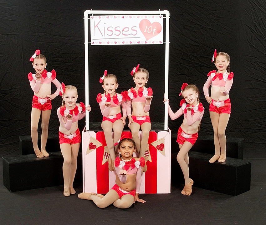 "Performing their ""Kissing Booth"" routine, which earned an ""overall high point award,"" were these members of the Mini Diva Dance Company. From left: Laiyla Dankert, Keira Johnson, Evie Drumm, Arayah Berryman, Ava Picolet, Emeryn Plett and Natalynn Kabel."