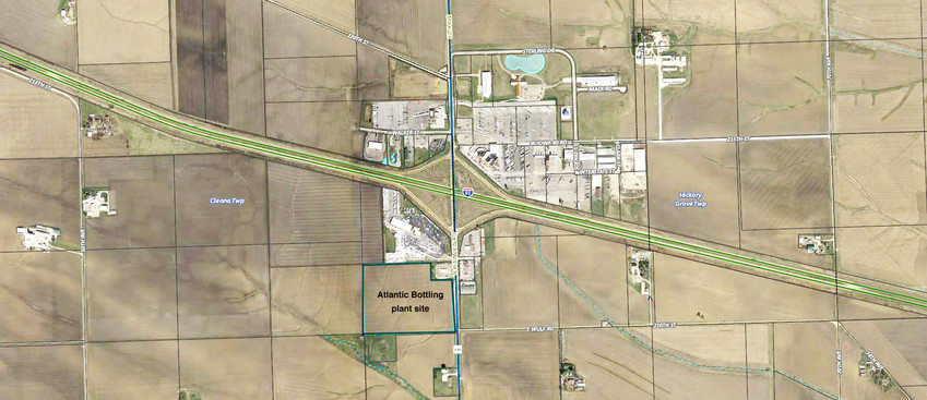 A 27-acre site southwest of the Interstate 80 Walcott interchange will be the home of Atlantic Bottling's ninth Iowa bottling and distribution plant. I 80 Group's Dave Meier explained the proposal Monday at Walcott's council meeting.