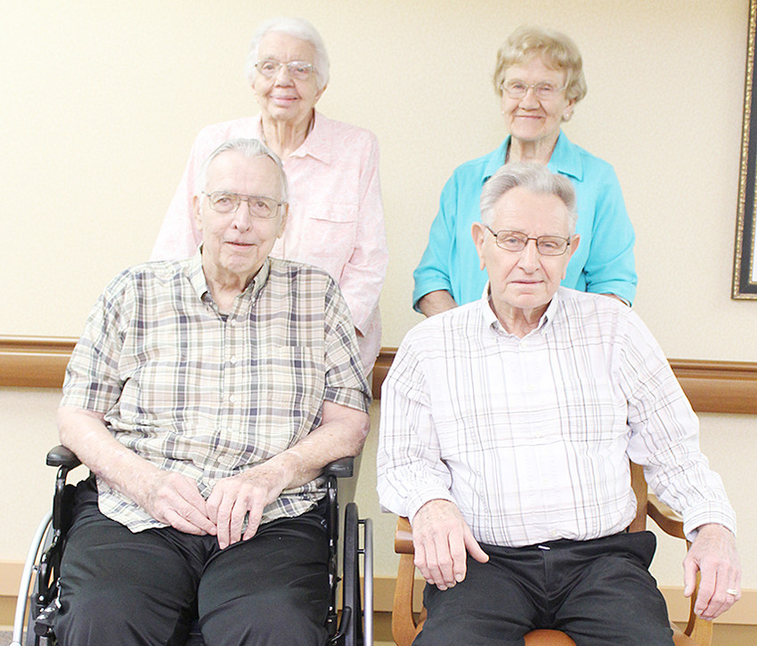 """In 1948, 29 students graduated from Durant High School. Four former students held a 70-year class reunion at the Wilton Retirement Community on Wednesday, May 16. Shown standing (from left) are Lois (Martens) Wirth and Dorothy (Wegener) Gibson; seated are Robert Schlapkohl and Alvin """"Al"""" Korthaus. The class members held a luncheon and invited the spouses of other late class members. Other members of the class of 1948 who were unable to attend the reunion include Frances Paul of Durant, Elaine Martz of Branson, Missouri and Marilyn (McKillip) Barker of Council Bluffs."""