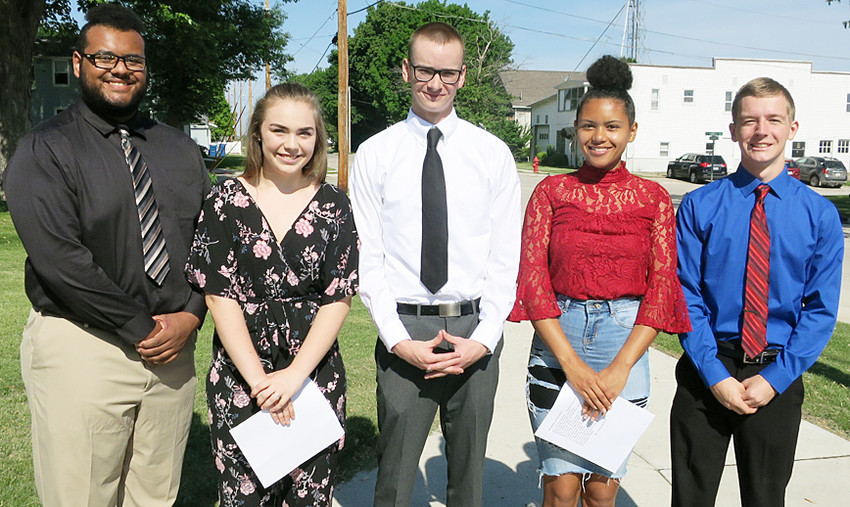 Young people who will represent the Walcott American Legion and Legion Auxiliary this summer at Boys' State and Girls' State participated in the Memorial Day festivities at Walcott Cemetery. They include, from left, Robbie Greve, Emma Day, Harrison Schmidt, Jalissa Peiffer and Nick Nahnybida.