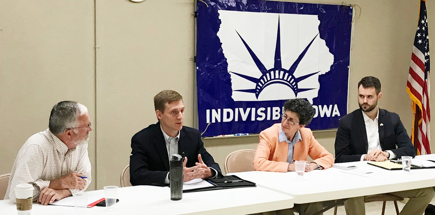 Moderator Mark Patton of Wilton (left) looks on as Iowa Senate Democratic candidates Eric Dirth, Janice Weiner and Zach Wahls address a crowd during a recent political forum in Tipton May 19. The candidates are vying for the District 37 seat soon to be vacated by Democrat Bob Dvorsky, who is not seeking re-election in November.
