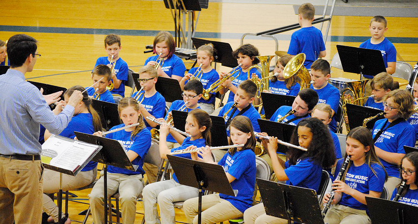 The Wilton Music Department presented their spring concert on Thursday, May 10 in the high school gymnasium. The concert featured the fifth and sixth grade bands and the junior high choir and band. Pictured are the fifth grade band, directed by Brad Miller. The junior high band is under the direction of Pete Wyatt.
