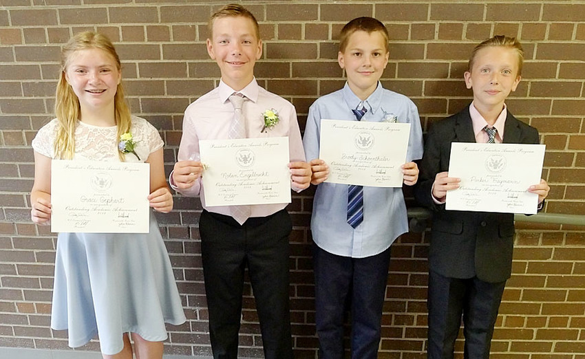 These students received the Presidents Award for Outstanding Academic Achievement, which recognizes students who showed outstanding educational growth, improvement, commitment or intellectual development in their academic subjects. From left: Grace Gephart, Nolan Engelbrecht, Brody Schoenthaler and Parker Freymann.