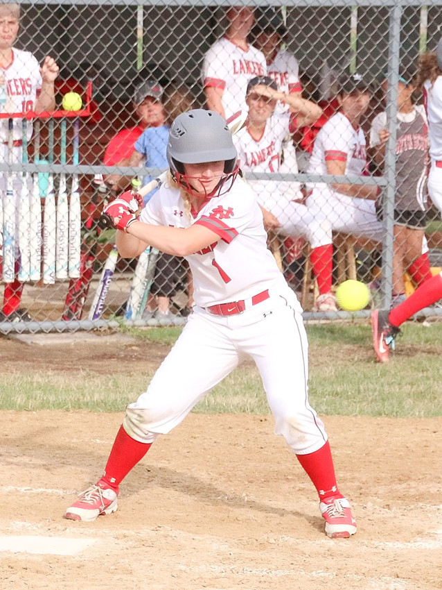 North Scott junior Abby Moeller keeps her eye on the ball during Thursday's doubleheader split with Davenport West.