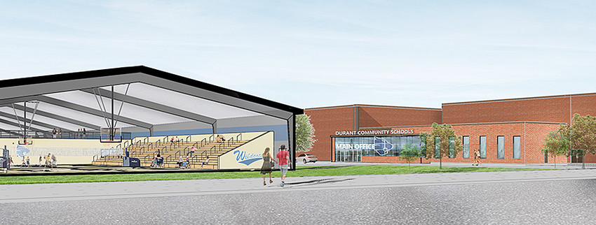 An artist's rendition of what an enclosed, secure entrance could look like at Durant High School if the $10.8 million bond project passes in September. A cross section view of the new athletic complex is also shown.