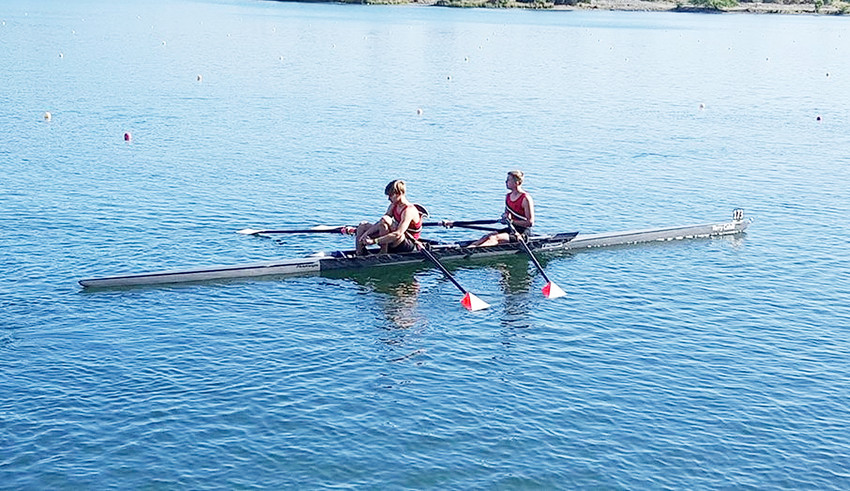 North Scott junior Zach Ramsey (right in both pictures) and his teammate, Justin English of Pleasant Valley, brought home silver medals from the National Rowing Championships in Ohio earlier this month.