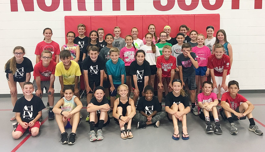 Fifth- and sixth-grade students who earned the Presidential Physical Fitness Award included, front row (l-r): Nolan Lung, Olive Khoury, Angelique Graham, Peyton Watkins, Ava Kaiser, Chloe Morrison, Kellan Wenck and Brody Westendorf. Second row: Jayda Neiber, Will Schneckloth, Jesse Eller, Christien Ingwersen, Kennadi Thiessen, Keaton Kress, Nolan Smeltzer, Adam Schneckloth and Beau Morgan. Third row: Amari Johnson, Reagan Clay, Georgia Brunkan, Harmony Hansel, Bella VanRoeckel, Josie Case, McKinley Toohey, Lillian Kook, Dakota Lindsey and Peyton Madison. Back row: Emee Allard, Jay Lightle, Kyler Gerardy, Aidan Davis, Delaney Fitzgibbon, Mercie Hansel, Reese Townsley and Kira Decastecker.