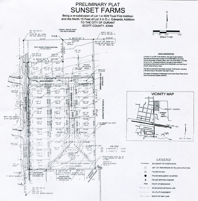 Durant council members reviewed preliminary plans for the Sunset Farms addition, which would include 25 lots. A copy of the map can be viewed at Durant City Hall.