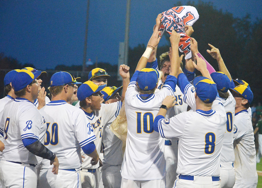The Wilton baseball team celebrates advancing to the state tournament for the first time since 2005.