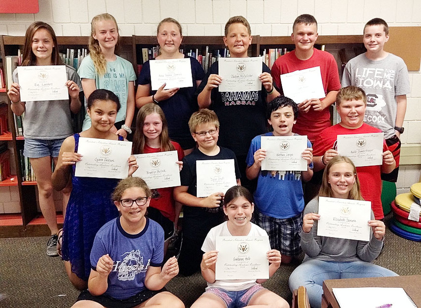 These sixth graders were honored for their academic excellence. Back row (l-r): Eve Landers, Katherine VanNess, Anna Sophia Council, Jackson McCallister, Owen Kuhn and Andrew Norris. Middle row: Cyara Jackson, Brooklyn Bullock, Dylan Orcutt, Nathan Lange and Kalob James-Kroeger. Front row: Molly Hill, Gretchen Hoft and Elizabeth Samara.