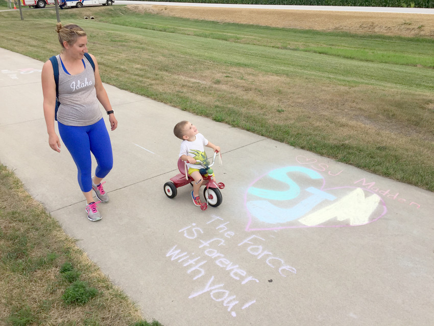 The trail included chalk remembrances for S.J. Madden and other North Scott students who've died recently.