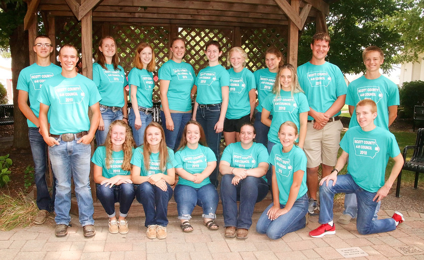 Members of this year's Scott County 4-H Council are: Sitting (l-r): Grace Bjustrom, Chloe Engelbrecht, Lauren Lanum, Raven McCabe, Coryn Wilson and Anton Kordick. Standing: Colin DeCap, Andrew Van Nice, Lauren Wall, Dana Jamison, Emily Lyon (advisor), Sophia Pike, Abby Lafrenz, Annie Hollonbeck, Grace Sampson, Ethan Hornbuckle and Kody Koberg. Not present for the picture were Mary Kauffman, Jason Arp, Lauren Keeney and advisor Lisa Zelle.