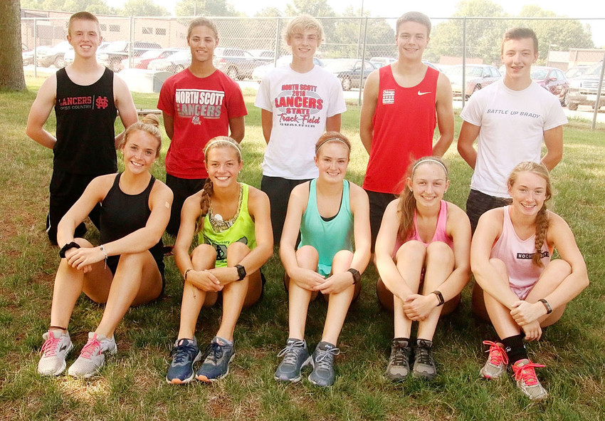 These 10 athletes, along with Abbi Lafrenz and Chris Tague, who were participating in the State Fair, are members of North Scott's Cross Country Leadership Team this season. Front (l-r): Brianna Hughes, Katie Jackovich, Emily Kundel, Brenna Bullock and Chloe Brabant. Back: Zach Garrard, Gabe Jensen, Jake Blowers, Colin Wiersema and Jackson Schrock.
