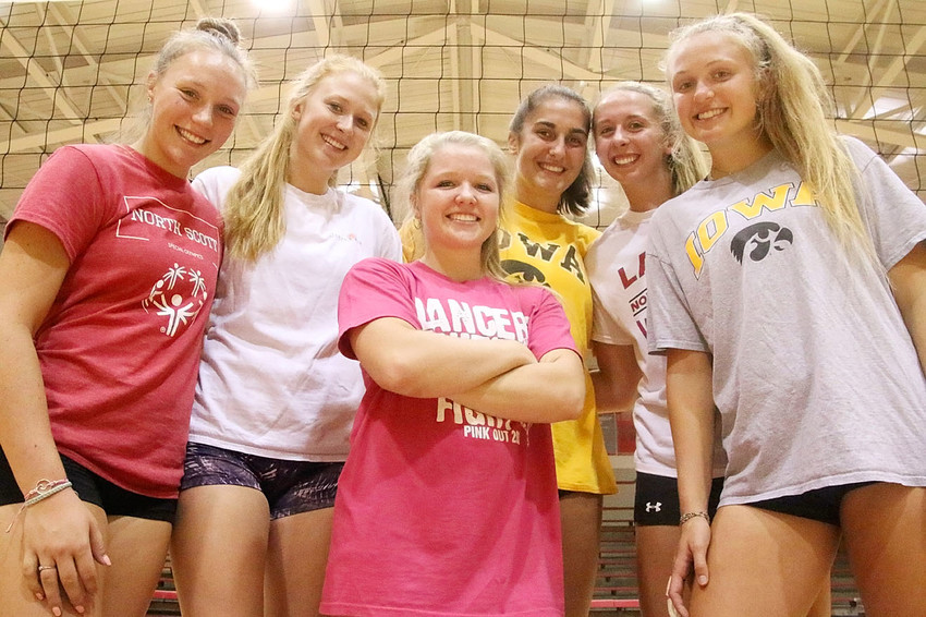 After last year's 23-9 turnaround season, which ended with a regional final loss to No. 2 Dubuque Wahlert, the Lancers are ready to pick up where they left off, thanks in part to this group of talented veterans. From left: Bailee Kroeger, Kendal McNaull, Maddie Allison, Grace Boffeli, Emma Powell and Emma Morgan.