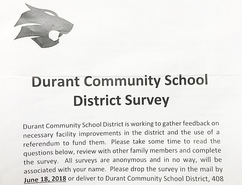 In preparation of a Sept. 11 bond referendum vote, the Durant School District sent surveys to everyone within the district in order to gauge interest. Done in June in conjunction with Legat Architects, there were 209 respondents, who (on average) gave Durant facilities a 'C' grade.