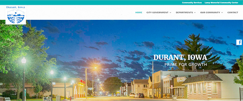 A snapshot of the new cityofdurantiowa.com website, which has been revamped and will launch its new look Aug. 31.