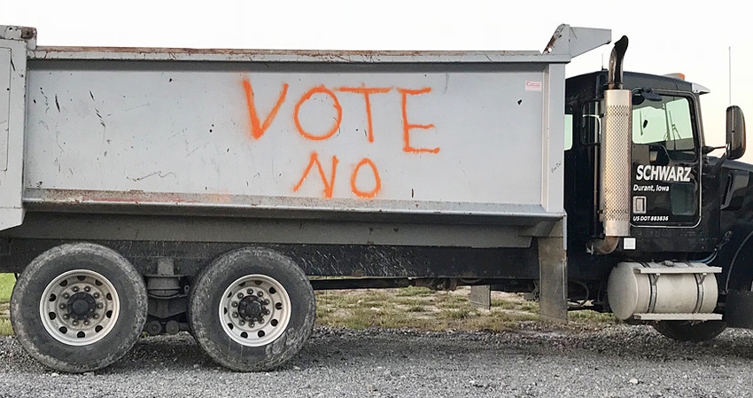 "A dump truck with the words ""Vote No"" painted on it was parked near the bus barn at the northwest edge of Durant days prior to the vote Sept. 11."