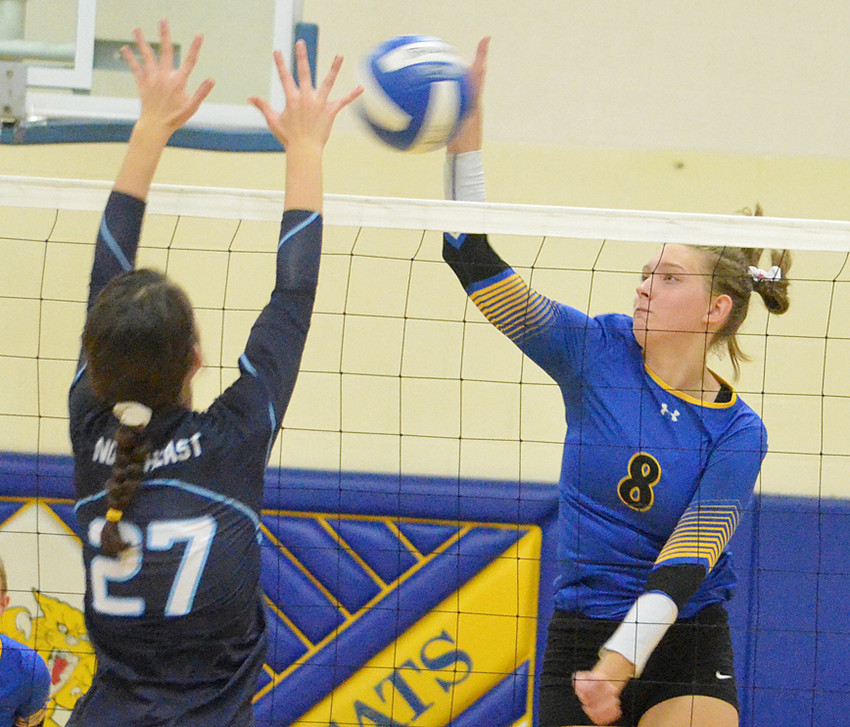 Annie Taylor hits through a Northeast blocker in recent home action.