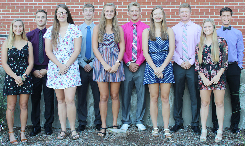 The Durant High School homecoming court was announced Sept. 24. Shown from the left are those running to become Wildcat royalty: Tori Novinski, Mason Compton, Mallory Warner, Anthony Mundt, Aubrin Dittmer, Zach Badtram, Annie Taylor, Bryce Lafrenz, Hannah Happ and Easton Botkins. The king and queen were crowned following the 6 p.m. parade on Wednesday.