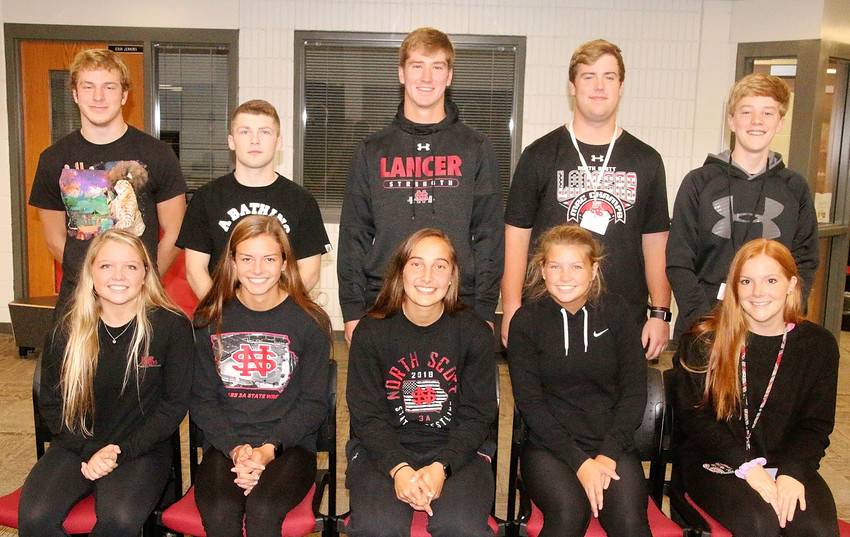 Members of North Scott's homecoming court were announced at a Monday morning aud. Queen candidates include (l-r) Maddie Allison, Katie Jackovich, Rylie Rucker, Rachel Drechsler and Lauryn Youngers. King candidates are (l-r) Jacob Porth, Caleb McCabe, Nile McLaughlin, Gordy Field and Connor Oetzmann.