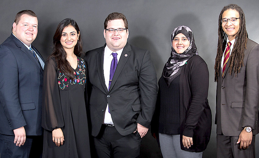 Student leaders at Iowa's regents universities urge voters to weigh in on candidates' views on funding higher education before they vote on Nov. 6. From left: North Scott grad Dexter Golinghorst, Hira Mustafa, Drew Stensland, Norin Yasin Chaudhry, and Julian Neely.