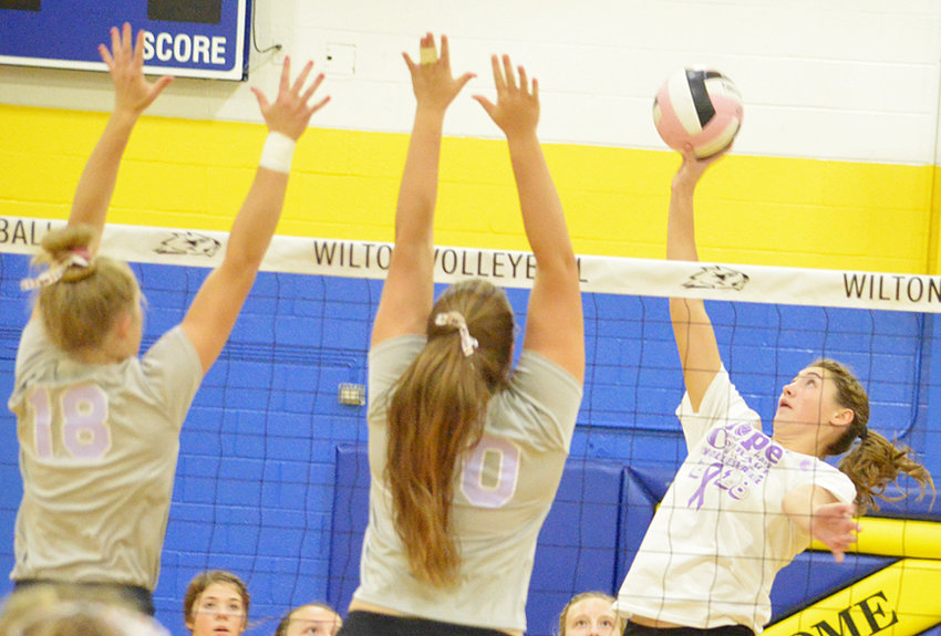 Wilton's Aubrey Putman (right) is third in Class 2A with 327 kills this season. The Beavers are ranked No. 12 in Class 2A heading into River Valley Conference tournament play this week.