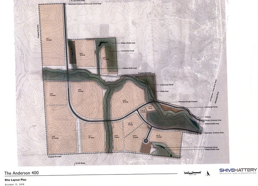 Plans for the Anderson 400 now show 14 subdivided lots, including community and trail space for the river bluff property annexed into Princeton earlier this year.