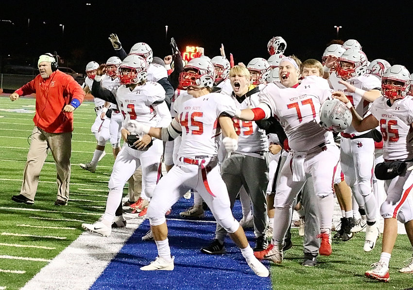 It was party time in Tiffin, and the Lancers were in a celebratory mood during their 45-7 win over Clear Creek-Amana. Lancer starters Mason Watts (45) and Gordy Field (77) led the cheers when Noah Kline finished off the scoring with a fourth-quarter run.