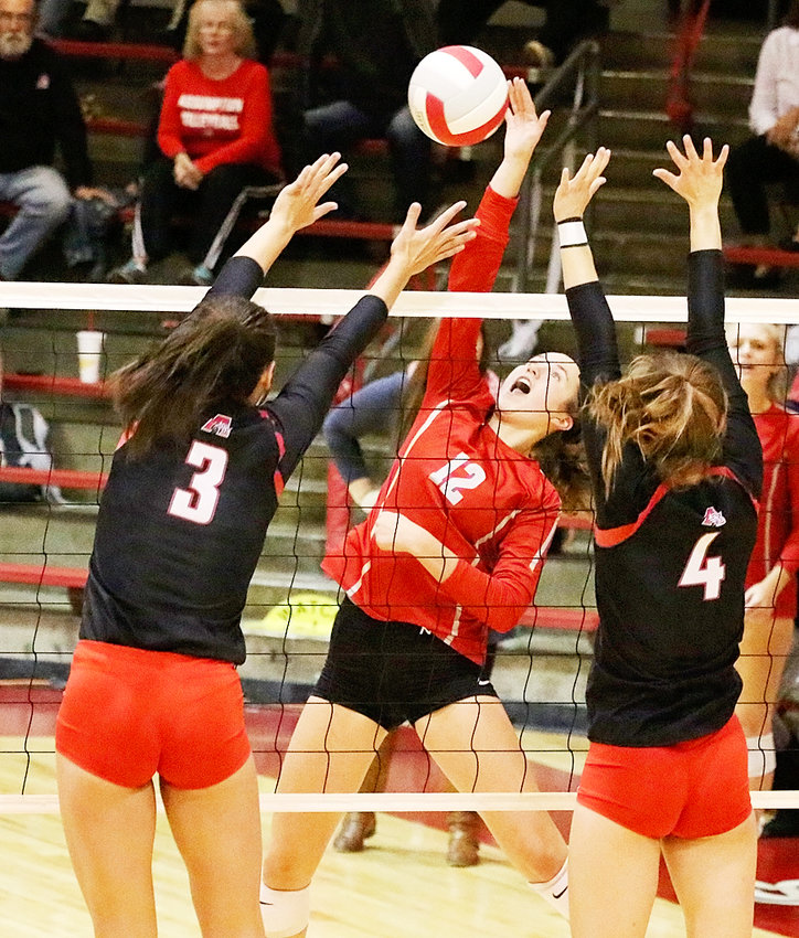Freshman Ella McLaughlin continues to come into her own, and delivered six kills against Assumption Monday night.