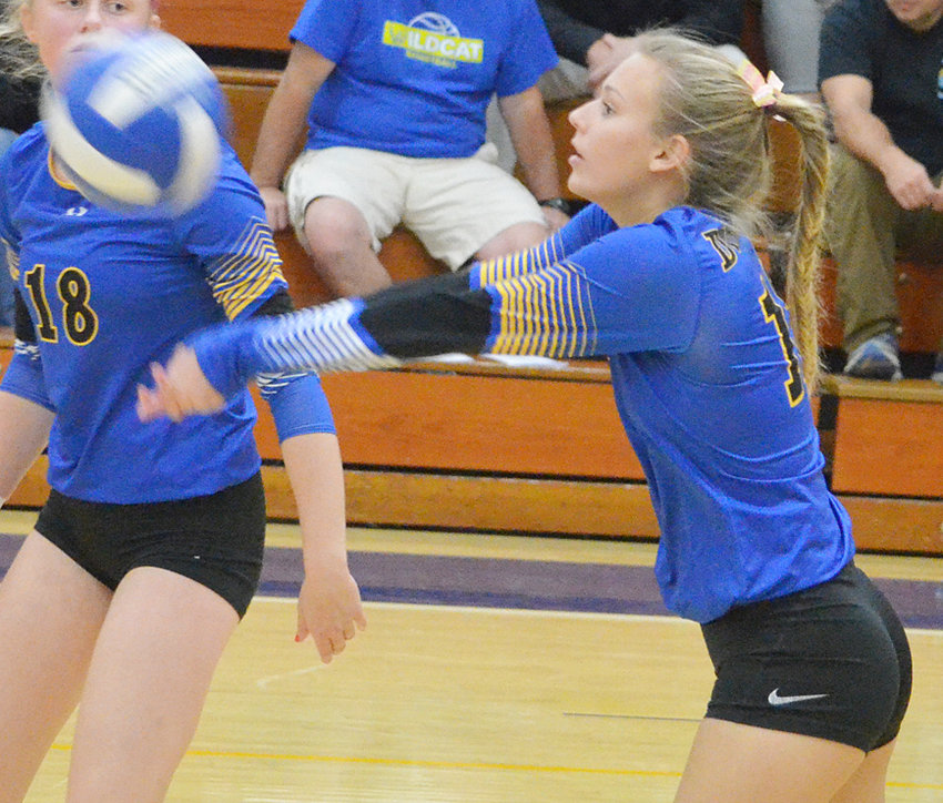 Durant's Paige Werthmann is shown making a pass in Regional home action against Wapello Oct. 22. The Wildcats swept the Arrows and will travel to Mediapolis Oct. 25 for a semifinal matchup with Van Buren.