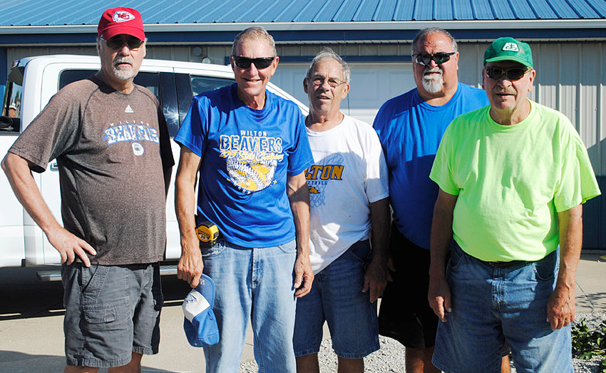 Pictured are some of the volunteers who have dedicated their time to completing projects around the Wilton schools. From left: Ron Hedrick, Don Drake, Russ Huesmann, Tom Maurer and Dan Kitchen.