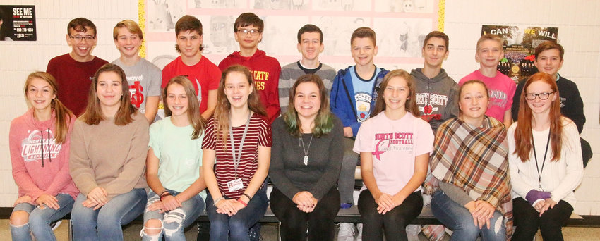 Junior high students participating in Opus include, front (l-r): Cora O'Neill, Annika Lang, Natalie Naber, Rachel Sorensen, Alexa McDaniel, Cella Hanssen, Anna Sophia Council, and Charity Bendickson. Back: Brecken Learn, Dylan Marti, Seth Madden, Matthew Anderson, Andrew Skinner, Connor McMann, Nikolas Davis, Lex Adkisson and Peter LaCorte. Not pictured is Ben Hofmann.