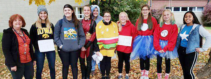 The Durant Family Career and Community Leaders of America (FCCLA) went trick or treating for cans in Durant on Halloween, collecting 480 pounds of food for the Durant-Wilton Food Pantry. Pictured above from left include FCCLA adviser Mary Feuerbach, Tori Novinski, Chloe Meana, Elizabeth Daufeldt, Jenna Krause, Kiley Stineman, Karissa Hoon, Addysen Clark, Ella Mundt and Sophia Reyna.