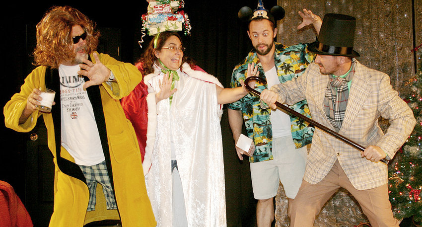 """Cast members for the Wilton Alumni Association's upcoming """"Scrooge Makes Up!"""" include (from left) Ted Marolf, the Ghost of Christmas Future; Jennifer Jennings, the Ghost of Christmas Presents; Corey Freeman, the Ghost of Christmas Past; and Nick Dohrmann as Ebeneezer Scrooge."""