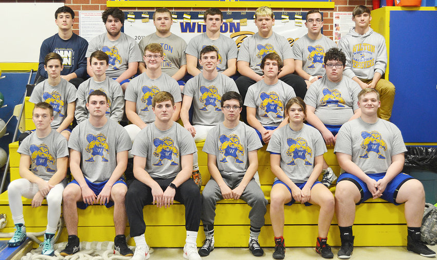 Wilton Varsity Wrestling—Front row from left, Dalton Snider, Zach Delever, Coy Baker, Blake Conklin, Mea Burkle, Braeden Vandervoort; middle row, Gage Oien, Kael Brisker, Clayton Cooling, Cory Anderson, Trey Sulzberger, Dylan Miller; back row, Cameron Keith, Zach Rubendall, Michael Proctor, Calib Lilly, Briggs Hartley, Jacob Creamer, Brian Stillman. Not Pictured: Colton Cruse; and managers Mila Johnson, Ansley Boorn, Anna McQuillen, Natalie Huston, Cheyenne Rae, Emily Fausel, Ryleigh Stevens. The Beavers are coached by Gabe Boorn.