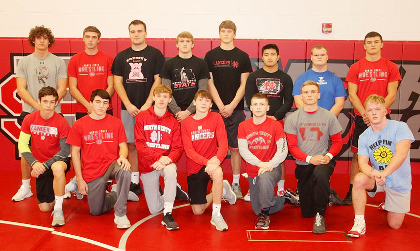 Confidence runs high in the Lancer weight room, with these seniors and returning letterwinners on North Scott's wrestling team. They include, front (l-r): Logan Cole, Deven Strief, Cael Bredar, Josh Connor, Caleb McCabe, Jake Matthaidess and Quentin Allison. Back: Mason Watts, Teagen Fletcher, Brady Ernst, Collin Lewis, Slater Williams, Kevin Diep, Dakota Asleson and T.J. Yates.