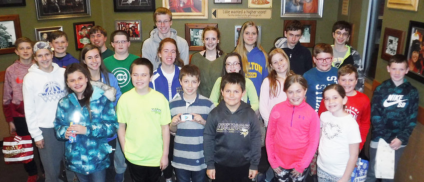 The Wilton Hustler's 4-H Club held its regular meeting, Dec. 5. The club started at Blain's Farm & Fleet and bought Christmas gifts for Angel Tree children. Members then had a pizza party, business meeting and gift exchange at Happy Joe's. Those in attendance included: (first row) Rece Baker, Aaron Fox, Tyler Ellithorpe, Jerald Stranberg, Melany Fitzer and Chloe Thornton; (second row) Charlotte Brown, Emma Hartman, Abigail Brown, Amira Cerveny, Cora Marine, Draven Cole, Briggs Oien and Gabe Brown; (third row): Ben Marine, Isaac Brown, Colby Brown, Aiden Hewitt, James Walton, Ellie Hugunin, Anna Marine, Tyler Mach and Ryan Cerveny.