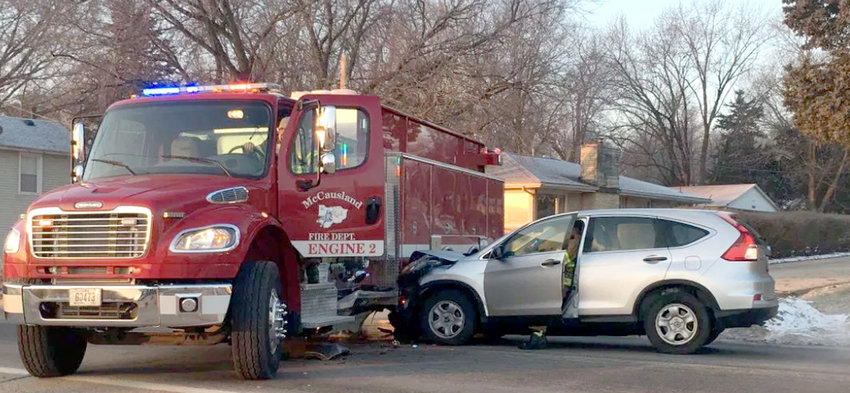 A collision in LeClaire caused minor damage to McCausland Engine No. 2.