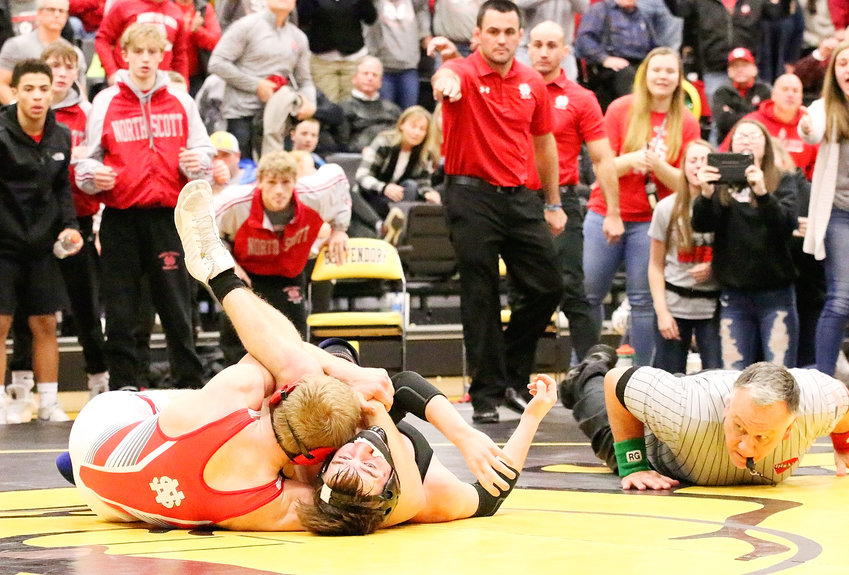 North Scott junior Jake Matthaidess did all that he could to put Damian Petersen on his back, but it wasn't enough for the official to signal a pin. Matthaidess had to settle for a 20-4 technical fall.